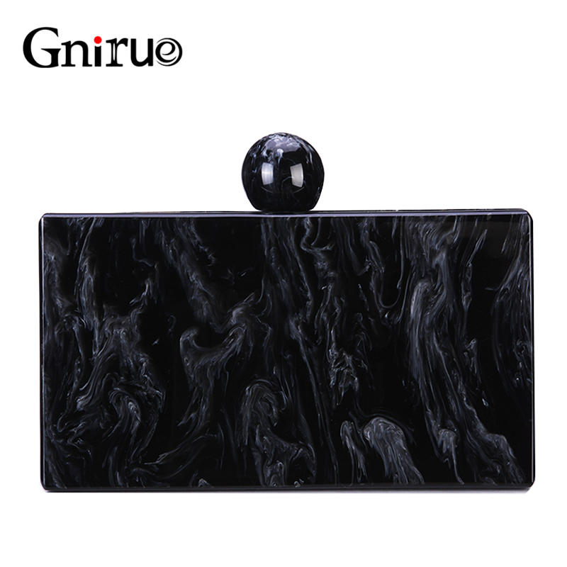 New Brand Black Marble Pattern Acrylic Evening Bags Vintage Handbags Women Messenger Bags Party Prom Wedding Casual Clutch