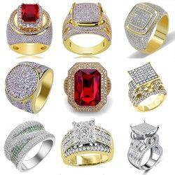 Buzlu Out Yüzük Erkekler Kadınlar Paslanmaz Çelik Büyük Taş Geometrik Kare Parmak Yüzük Altın Renk Büyük Kalpler erkek Ringen o3N950