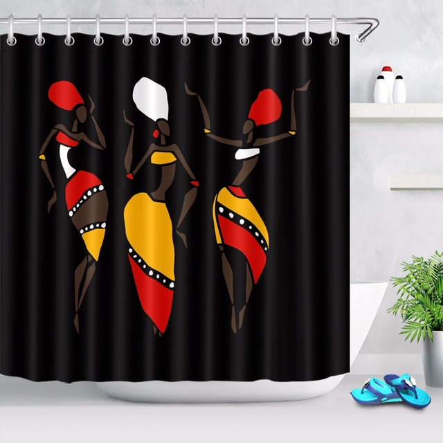 72 African Dancing Afro Black Woman Bathroom Fabric Shower Curtain