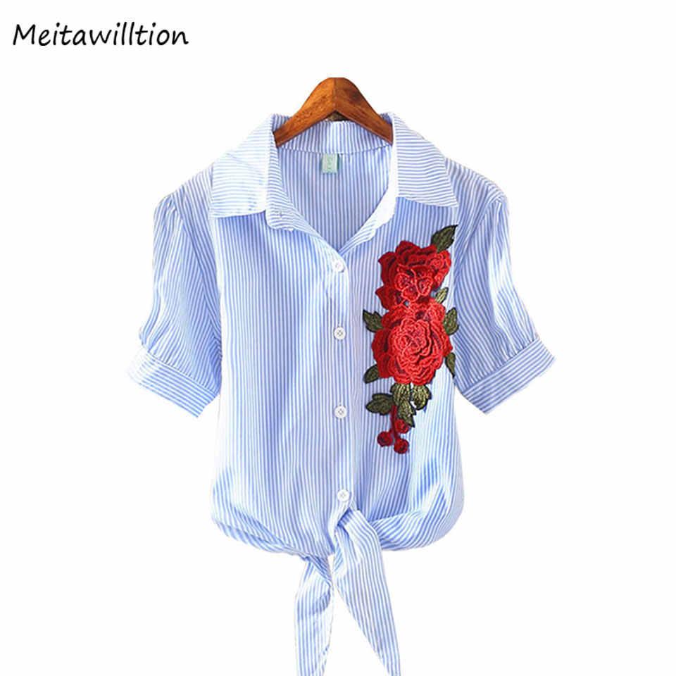 Meitawilltion Футболка женская 2019 новая вышитая Футболка женская цветочная футболка женская летняя хлопковая тонкая кимоно повседневные полосатые топы