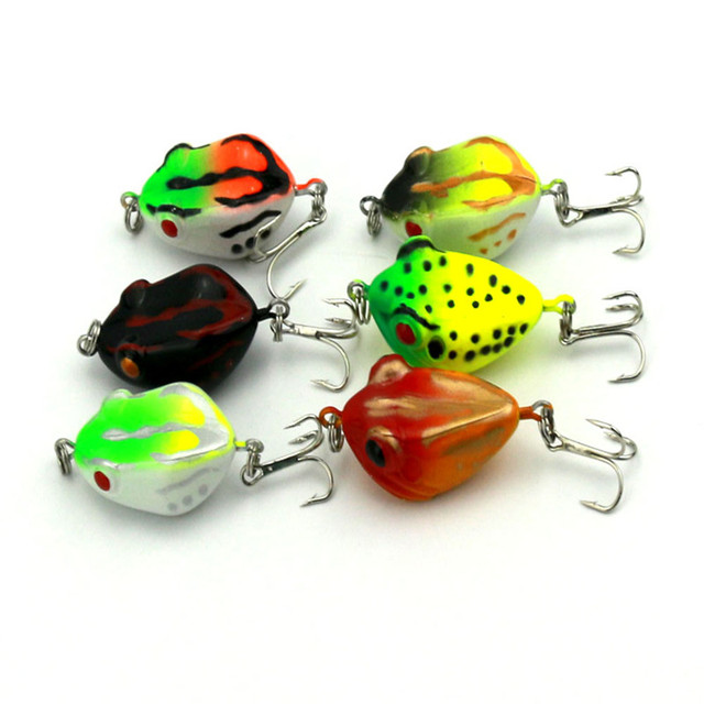 HENGJIA 6pcs frog fishing lures hard plastic fishing baits 4CM 6G 8# Japan hook pike bass isca pesca fishing tackle FO002