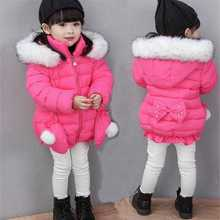 Winter Clothes Baby girls Down Parkas Clothing solid Hooded Thicken Tops Coats Children Girls Cotton Outwear For 1-8t 4dp019