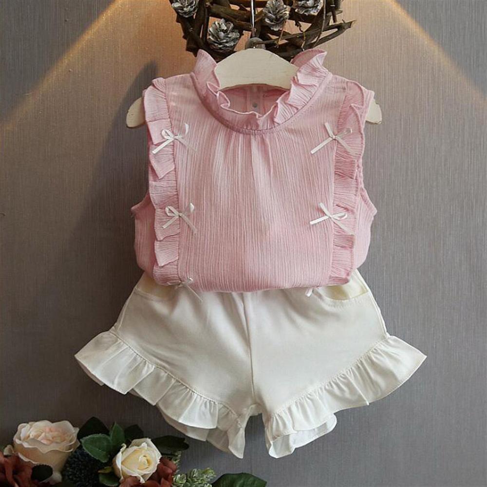Verão da criança das meninas roupas chiffon topos calções brancos crianças conjunto de roupas casuais crianças traje para 2 3 4 5 6 7 8 ano menina