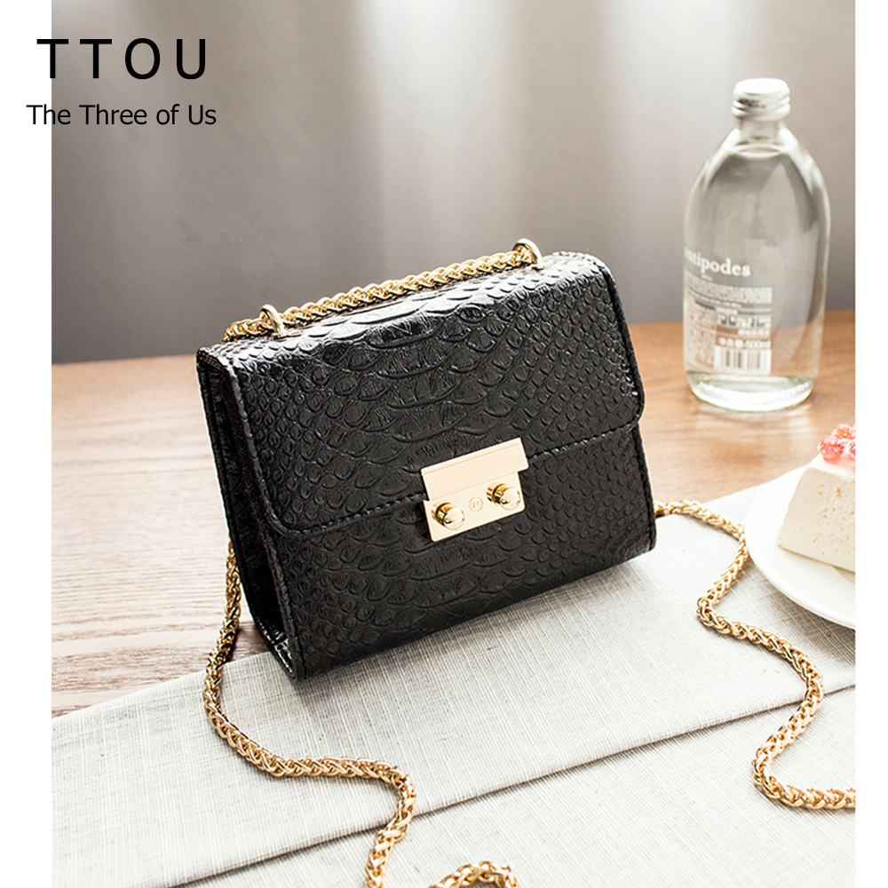 TTOU Alligator Crocodile Leather Mini Small Women Borsa a tracolla da donna con tracolla a tracolla