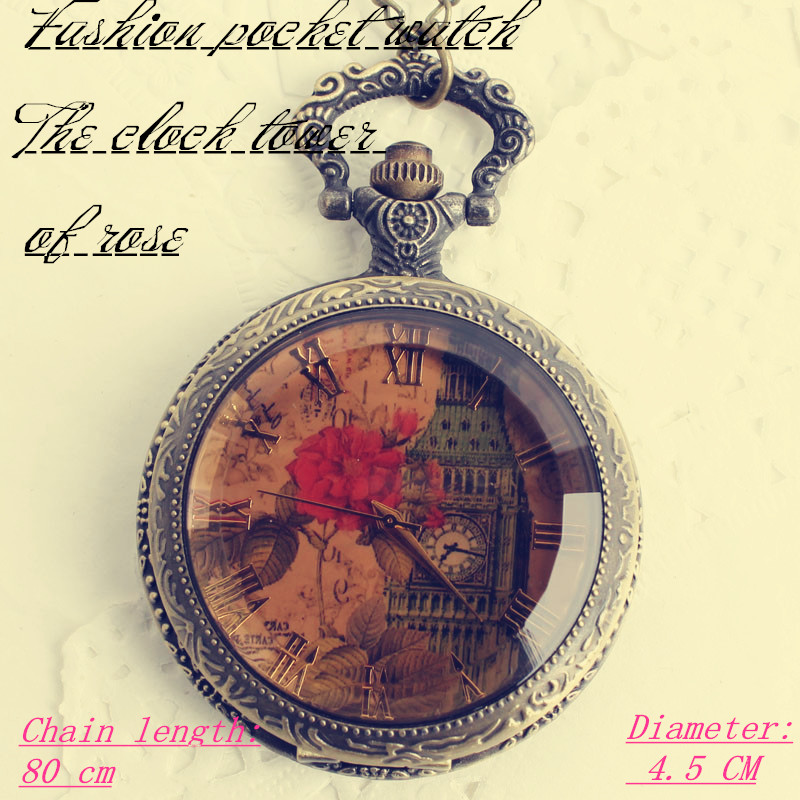 The car Auto accessories Rose tower transparent tea-coloured crystal clamshell Europe and all sorts of fashionable pocket watch