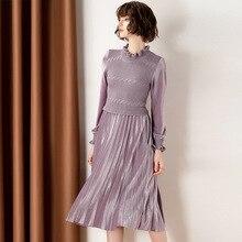Women Dress 2019 New Arrival  Fashion Solid color Faux Two Piece Long Sleeve Knit Patchwork Velvet Pleated Light purple