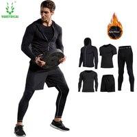 Vansydical New Mens Compression Shirts Pants Sets Gym For Fitness Running Tights Skins Base Layers Basketball