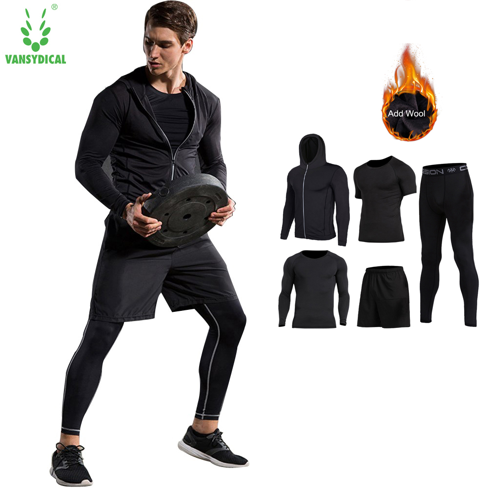 4pcs vansydical new men compression sport suits tights for Shirts and skins basketball