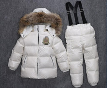 the children made of goose feather costumes appear boys girls winter white duck clothing children's clothing jacket + pants suit