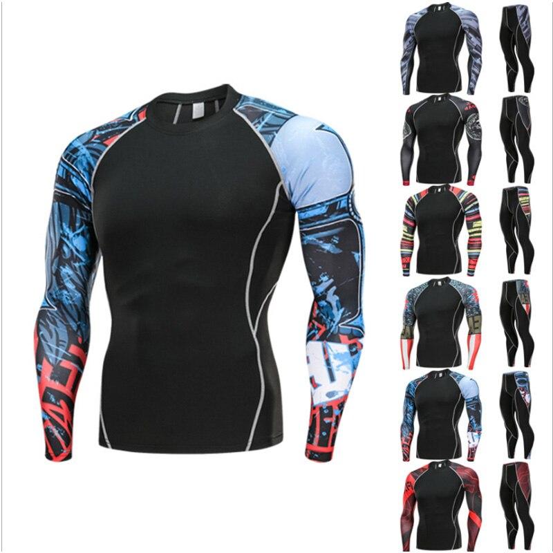 цена на mens sports suits Cycling tracksuit leggings crossfit T-shirt compression MMA rash gard kit Gym jogging thermal underwear 4XL