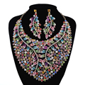 Gorgeous Jewelry sets multi color Necklace Earring Rhinestone Crystal Wedding Party earrings Set For Brides jewelry accessories