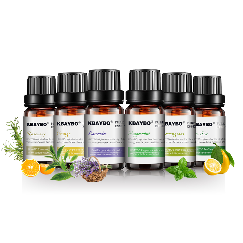 KBAYBO 10ml*6bottles Pure essential oils for aromatherapy diffusers lavender tea tree lemongrass tea tree rosemary Orange oil pear style silicone tea bag orange