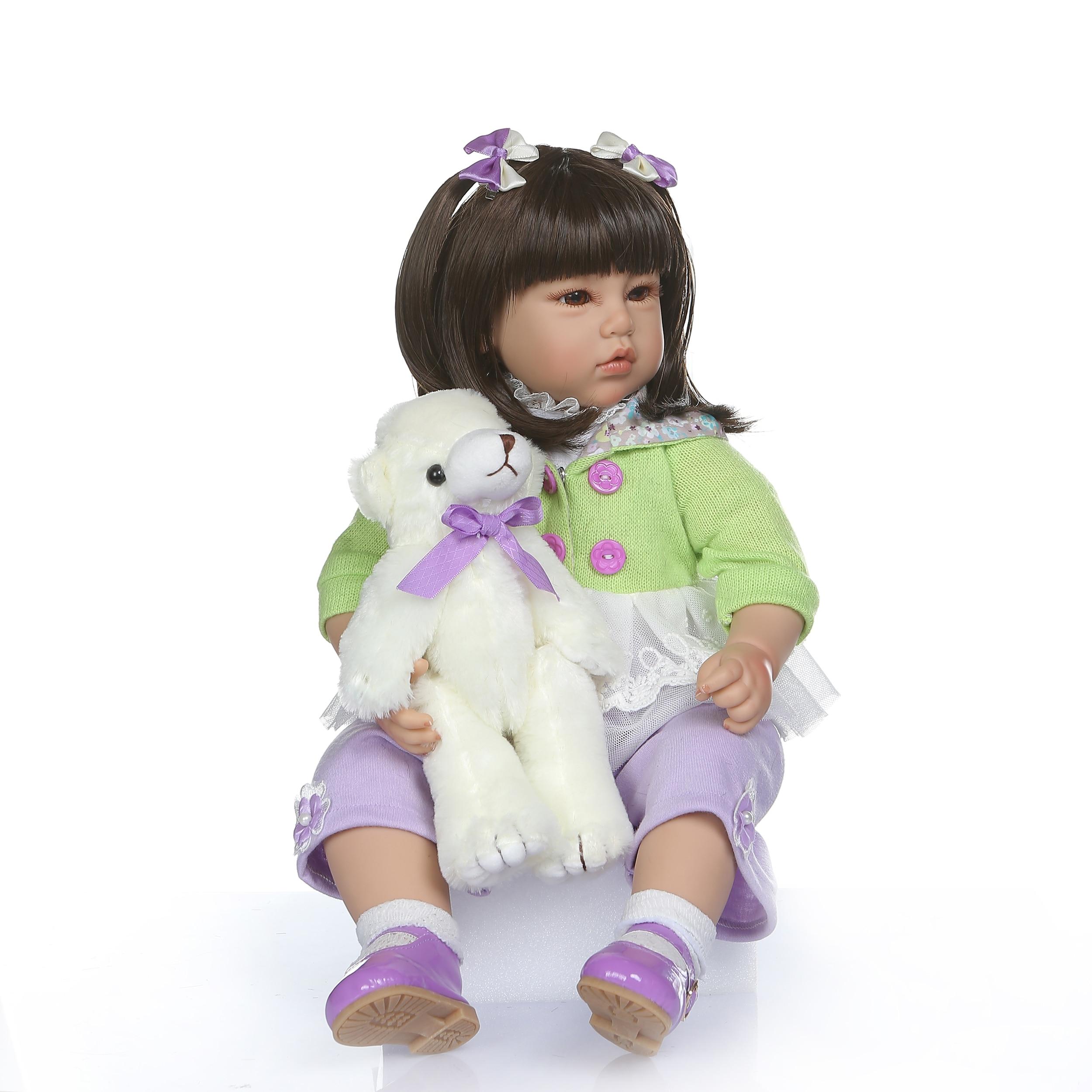 50 cm 진짜 아기 크기 긴 스트레이트 머리 공주 다시 태어난 유아 소녀 인형 아시아 bebe 인형 realista 장난감 어린이 brinquedos-에서인형부터 완구 & 취미 의  그룹 2