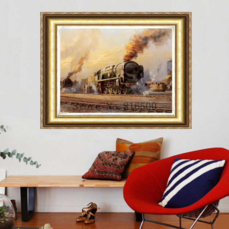 New Fashion Crafts Free Shipping Needlework Diy Diamond Painting Kit Cross Stitch Diamond Embroidery Beautiful Railway Train