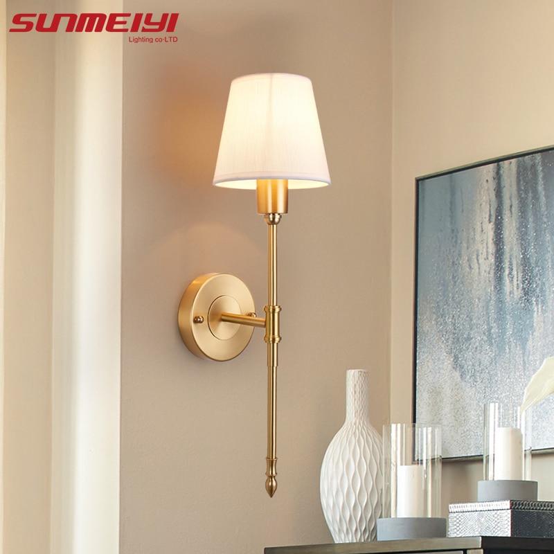 New Full Copper Wall Lamps lampara de pared dormitorio led Indoor Wall Lights Loft Corridor Living Room Lighting Fixture