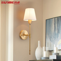 New Full Copper Wall Lamps lampara de pared dormitorio led Indoor Wall Lights Loft Corridor Living Room Lighting Fixture