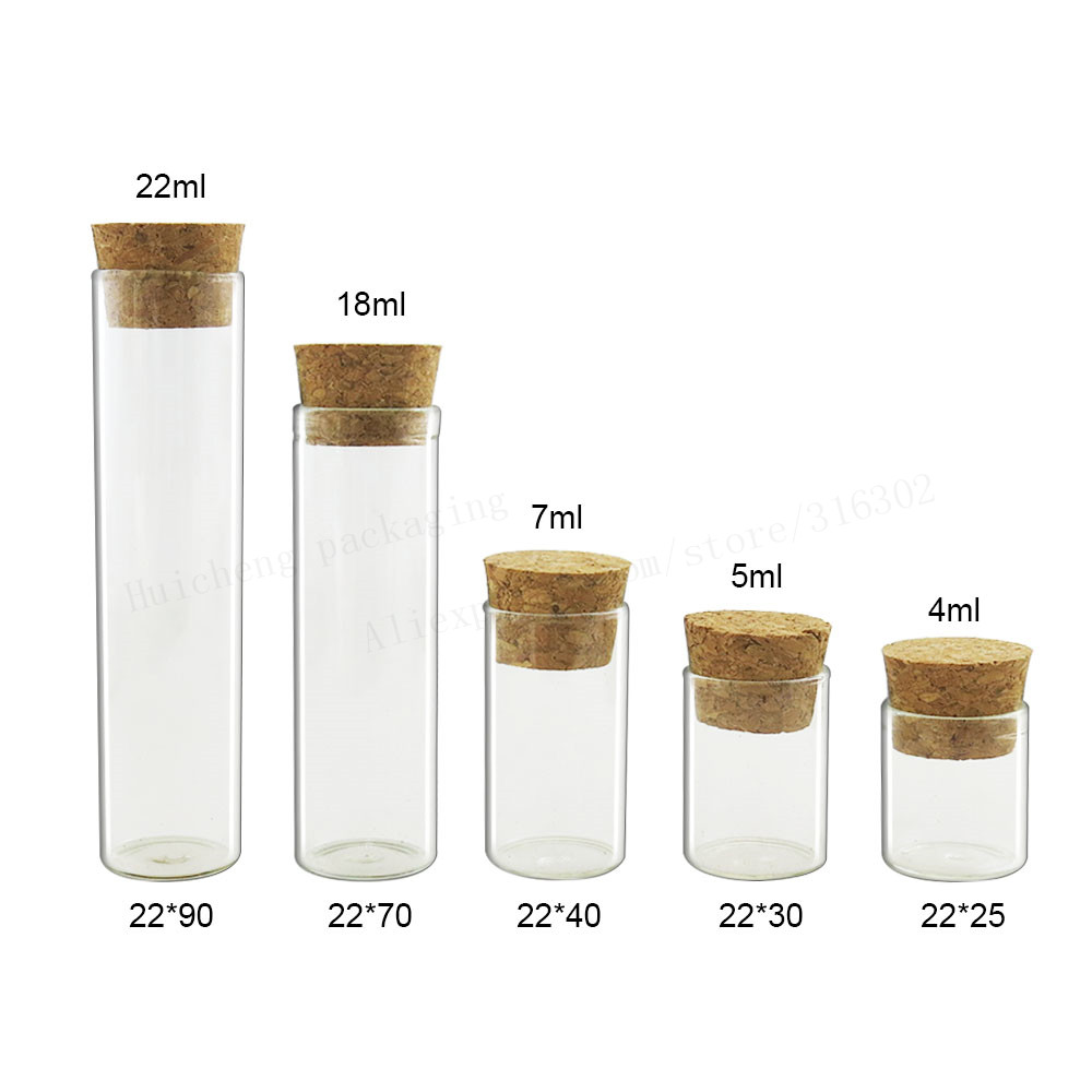 500 X Empty Small Cute Mini Cork Stopper Glass Tubes Vials Jars Display Containers 4ml 5ml 7ml 18ml 20ml