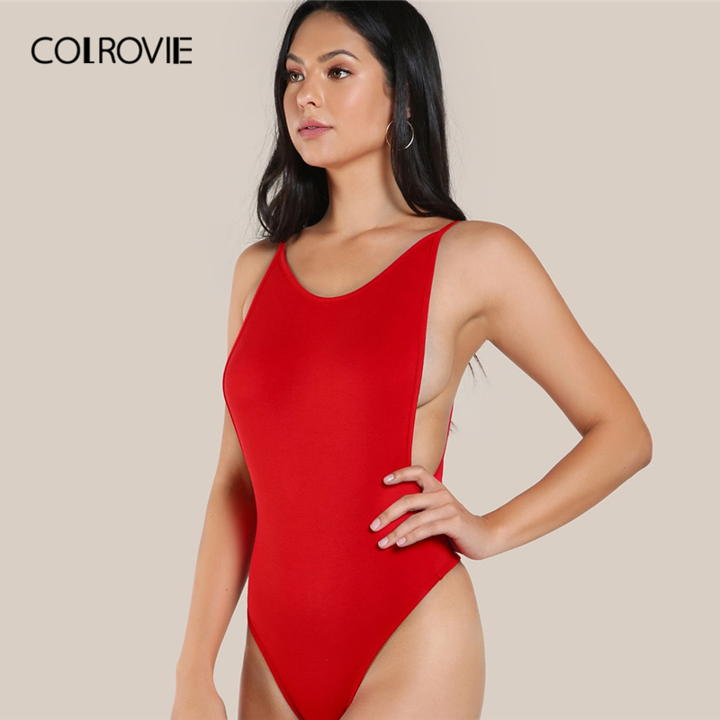 COLROVIE Solid Backless Low Side And Back Cami Bodysuit Women 2019 Sexy Summer Sleeveless Clothing Glamorous Skinny Bodysuits