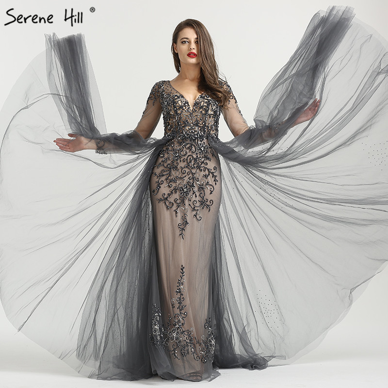 bf3088eef48 Long Sleeve Sexy V-Neck New Evening Dress 2019 A-Line Fashion Diamond  Beading