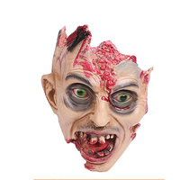 Fearsome Horror Head Mask Rotten Zombie Skull Joke Prank Toy Latex Scary Halloween Props HQ