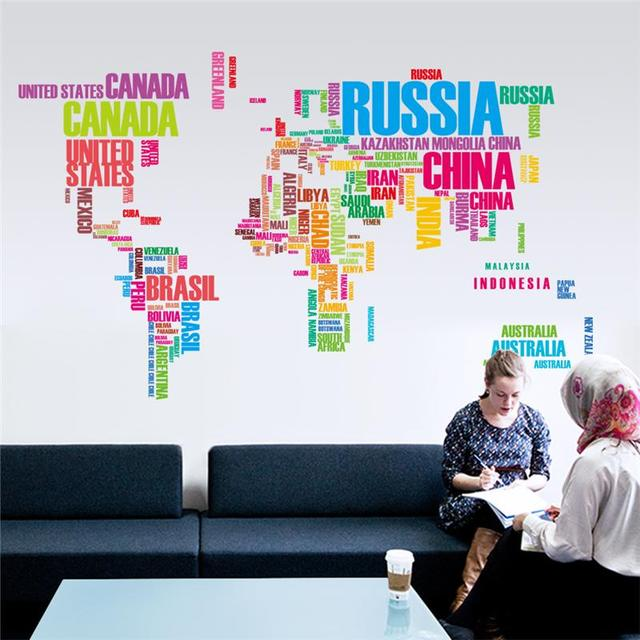 office world map. multicolor english words letters world map wall stickers office living room decoration home decal global maps g