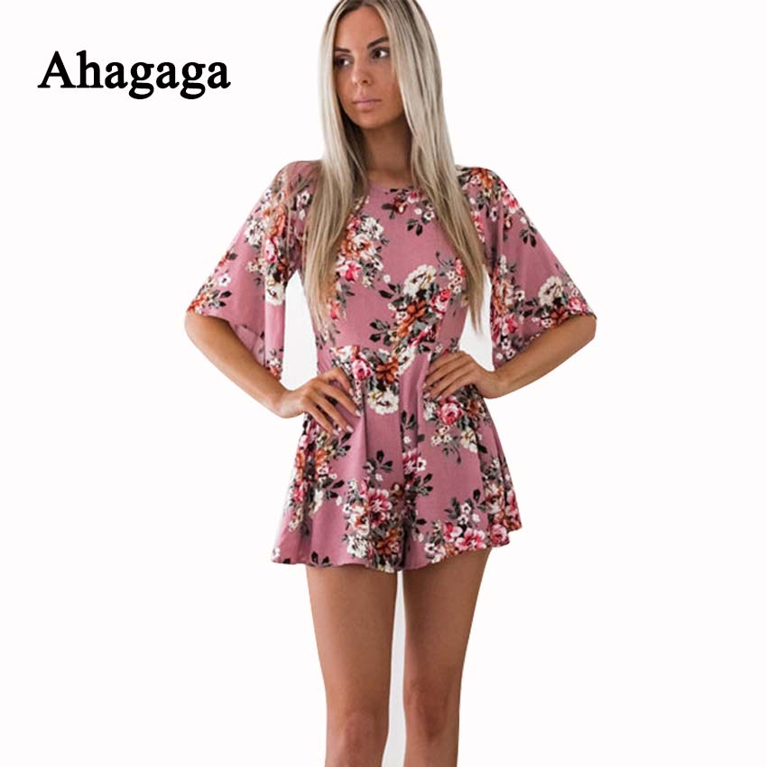Ahagaga 2018 Spring Summer Rompers Woman Jumpsuits Fashion Floral Print Loose Sexy Women Playsuits Regular Casual Women Jumpsuit