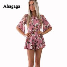 Ahagaga 2019 Spring Rompers Woman Jumpsuits Fashion Floral Print Loose Sexy Women Playsuits Regular Casual Women