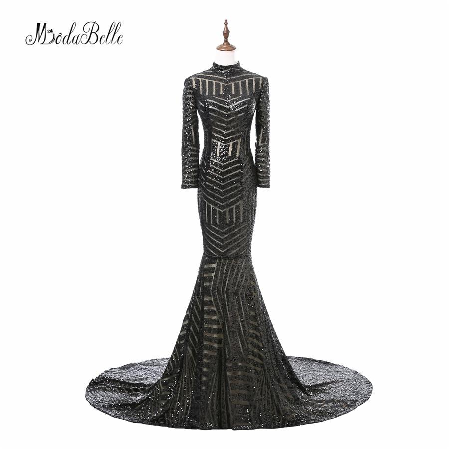 Уникален блясък с дълъг ръкав Черна русалка Блестяща рокля за рокли 2017 Пролетни специални вечерни рокли Vestido Formatura