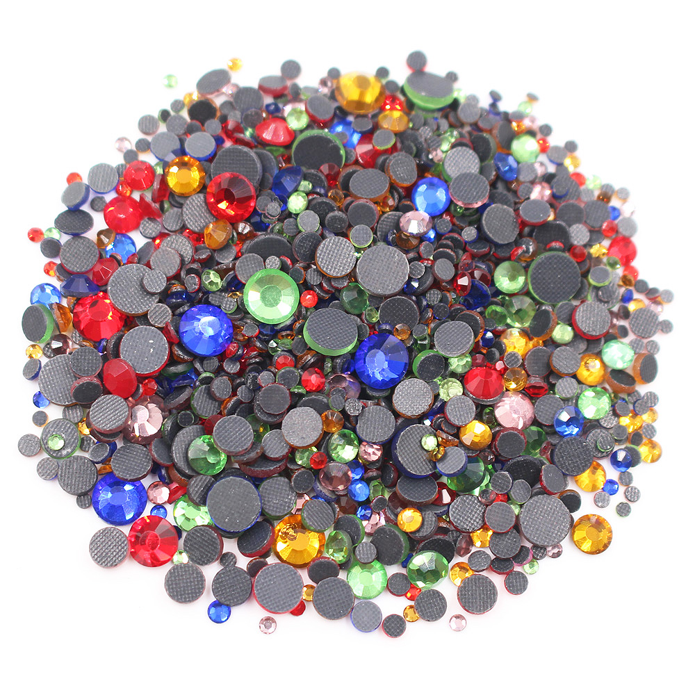 2500pcs Hot Fix Rhinestones Mix Size Stones And Crystals strass Rhinestones Adhesive Glue-Back Iron On Rhinestones For Clothes