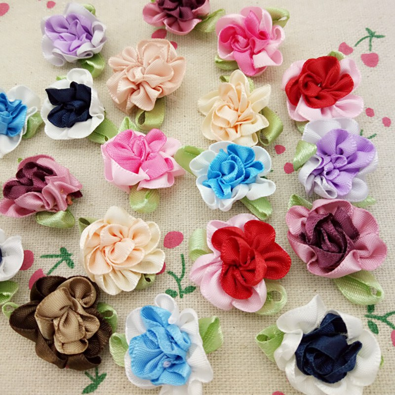 HL 30pcs Mix color ribbon flowers apparel DIY appliques sewing supplies accessories 25mm A139