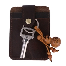 2019 New Genuine Leather Bus Bank Id Card Case Holder key Holder Coffee Brown Men raika an 156 brown 2 75in x 4 125in leather gussetted card case brown