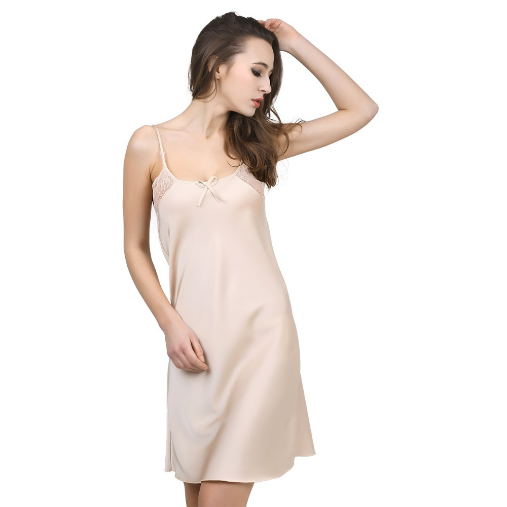 Nové pevné saténové šifónové dámské noční košile Sleepshirt Summer Nightdress Chemises Noční košile Sleepwear Sexy Nightwear Slips