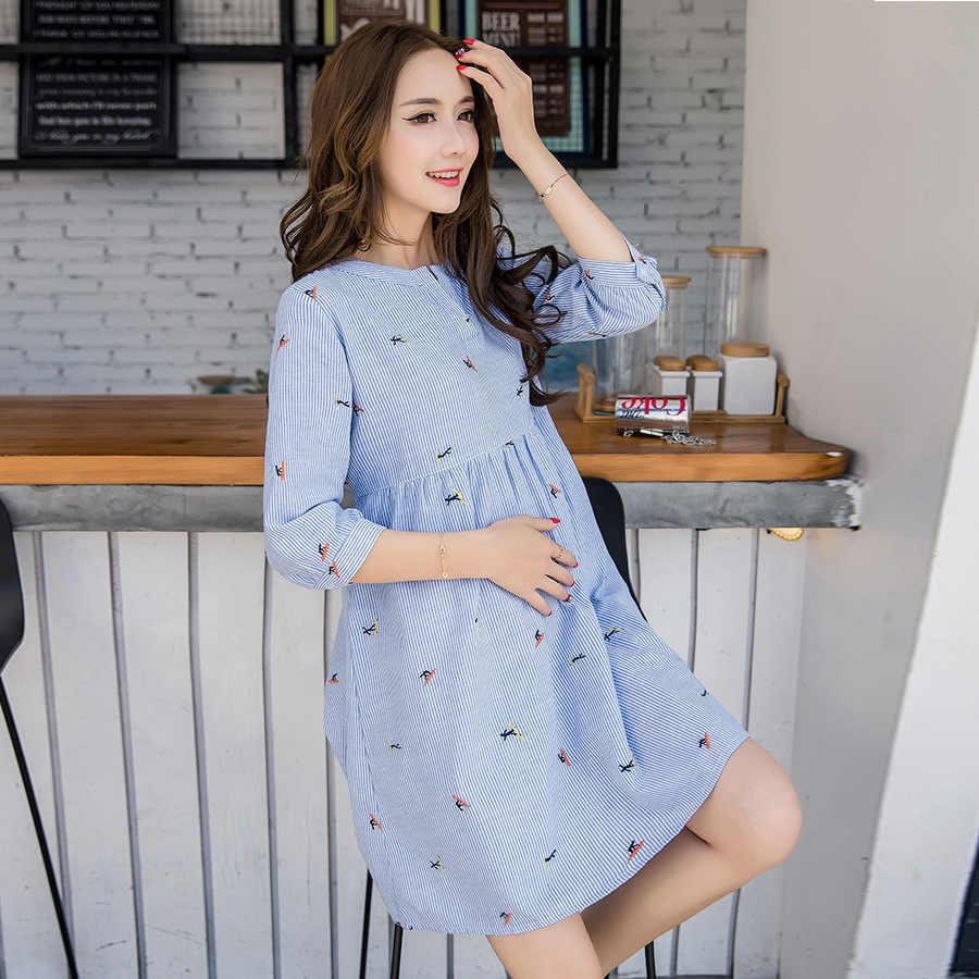Милая элегантная одежда для беременных летнее хлопковое платье для беременных с коротким рукавом синяя одежда для кормящих беременных женщин M-2XL
