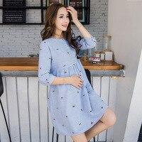 Cute Elegant Maternity Clothes Pregnancy Summer Short Sleeve Cotton Pregnant Dress Blue Nursing Clothes For Pregnant Women M 2XL