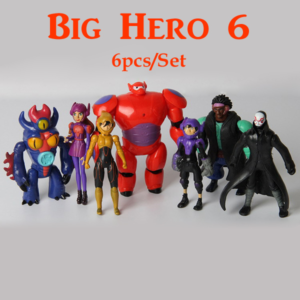 7pcs/<font><b>lot</b></font> <font><b>Big</b></font> <font><b>Hero</b></font> <font><b>6</b></font> PVC <font><b>Figures</b></font> Fred Tomago Honey lemon Wasabi <font><b>Action</b></font> <font><b>Figure</b></font> doll toys Free Shipping