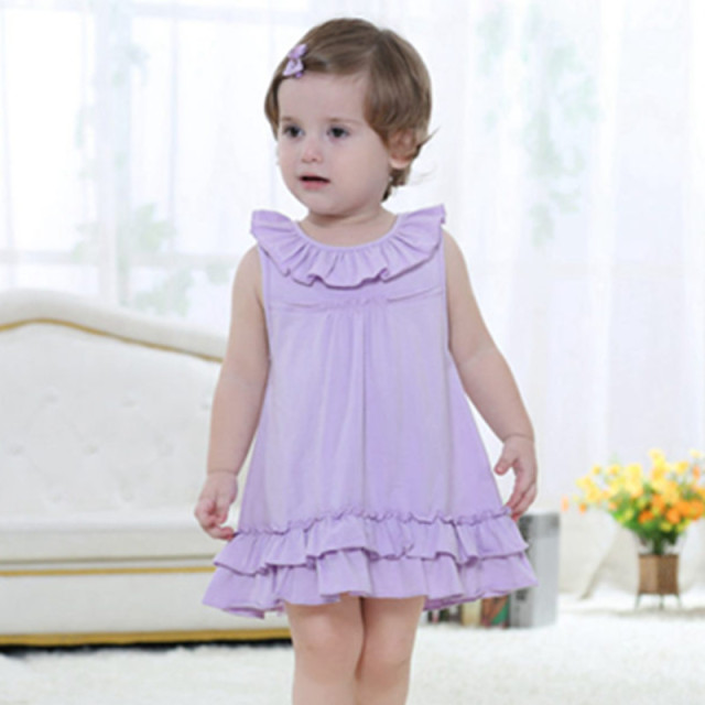 Baby Girls Dress,Summer Cotton Sleeveless Dresses,Fashion Brand Kids Ruffles Hem A-Line Dress,Children Clothes(18moth-3 yrs)