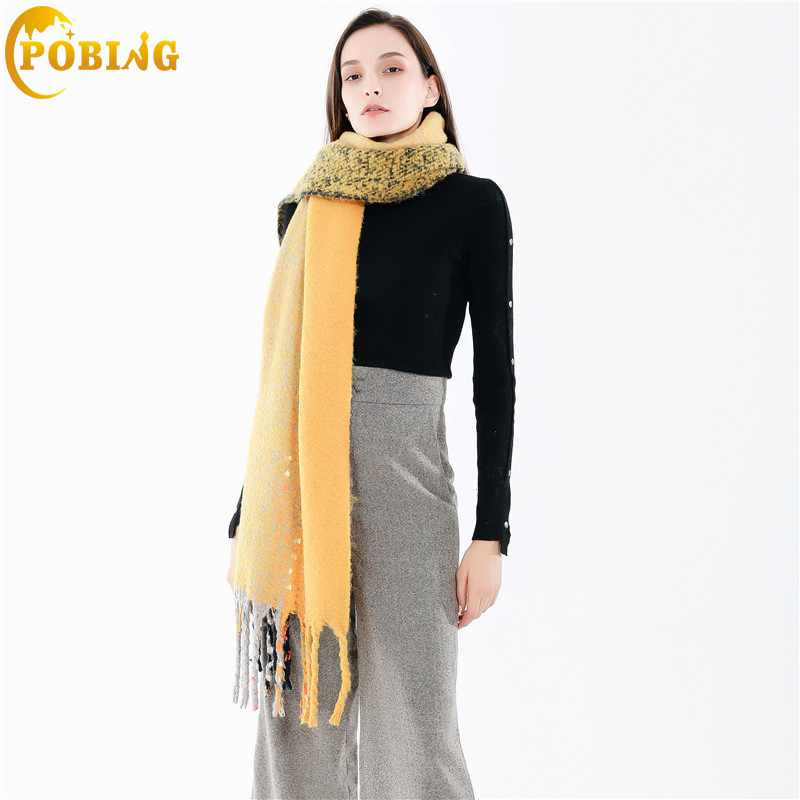 POBING Brand Winter   Scarf   Women Dot Print Soft Cashmere   Scarves     Wraps   Basic Acrylic Wram Shawl Female Bufandas Tassel Blanket