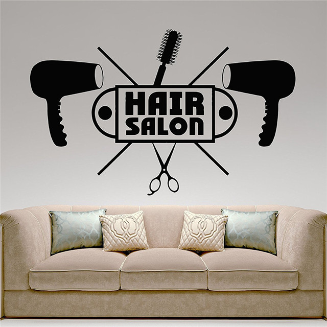 Hair Salon Wall Decor aliexpress : buy barbershop hairdresser hair salon wall decal