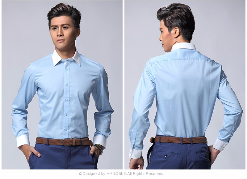 Domple Men Gradient Color Basic Business Short Sleeve Button Up Dress Shirts