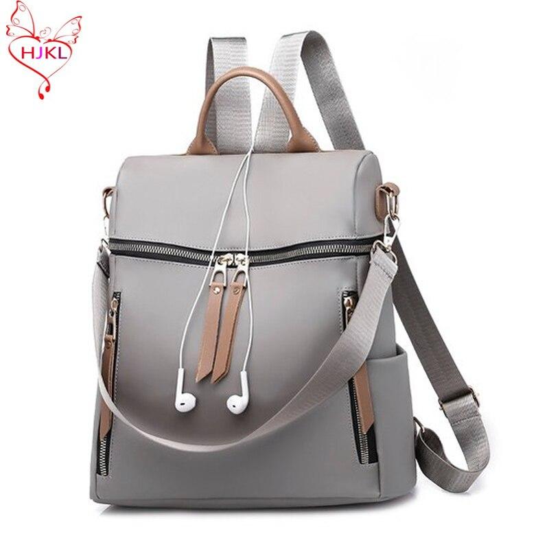 Oxford Canvas Shoulder Bag Female 2018hjkl New Summer Waterproof Nylon Bag Canvas Fashion Wild Backpack
