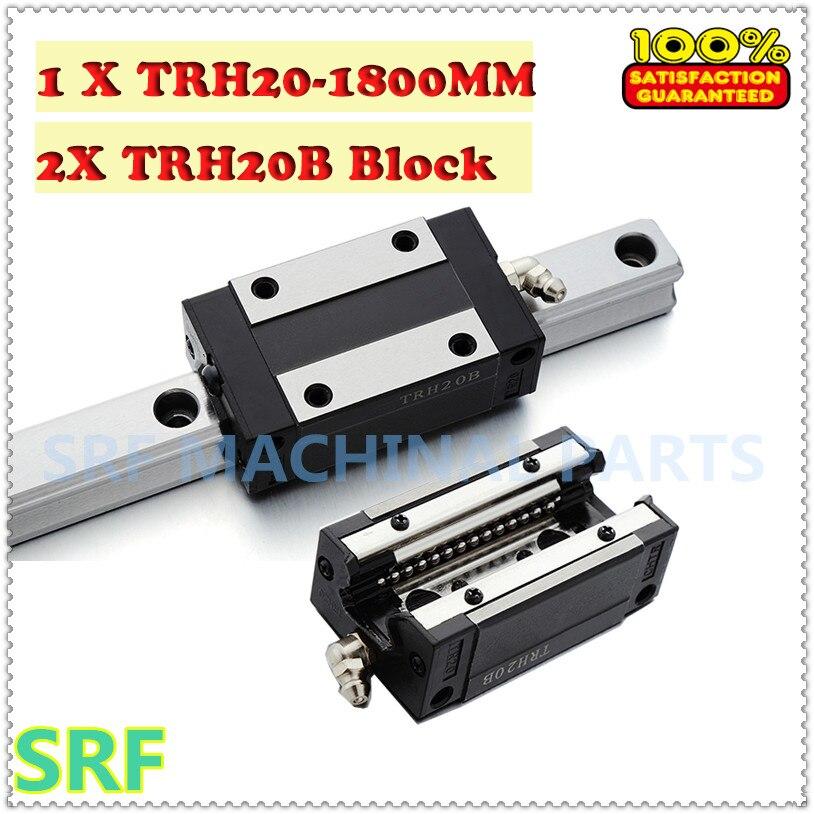 Haute qualité Linéaire Guide 1 pièces TRH20 Longueur = 1800mm rail de guidage Linéaire + 2 pièces TRH20B linéaire bloc coulissant pour CNC partie