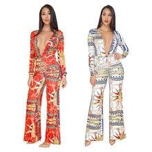 Plus Size 2019 African 3D Digital Print Sexy Bandage Deep V-neck Wide Leg  Bodysuit Rompers Womens Jumpsuit Overalls Trousers feae027fc