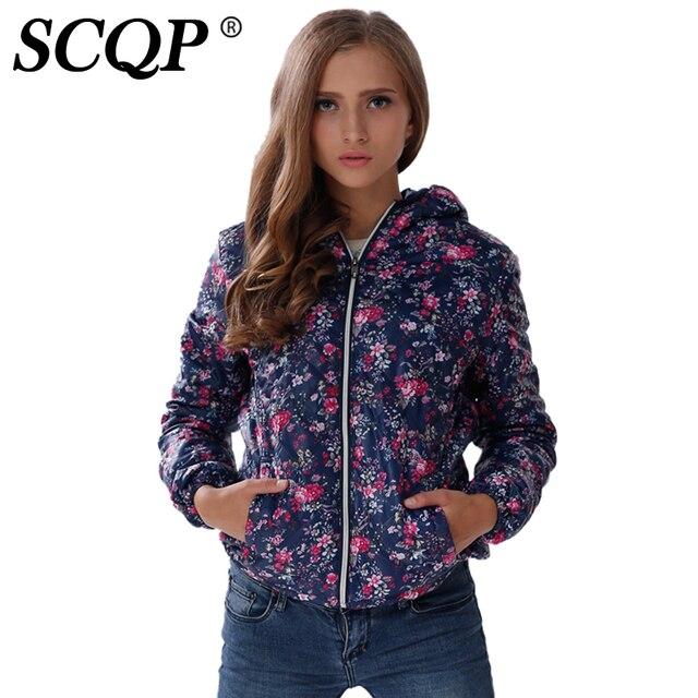 Scqp Hoodie Floral Printed Womens Jackets Zippers Pocket Ladies