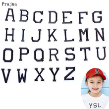 Prajna 26 English Letters Patch Embroidered Iron-on for Clothing Alphabet Words Stickers Badge Garment Accessory F