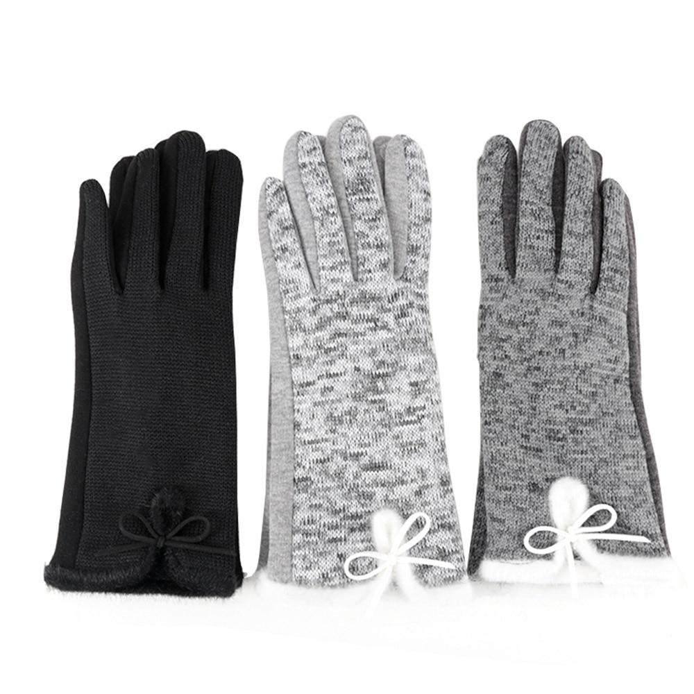 1 Pair Women's Winter Cotton Polyester Wool Gloves Black Grey Light Grey Elegant Warm White Plush Bow Glove Mittens Cashmere