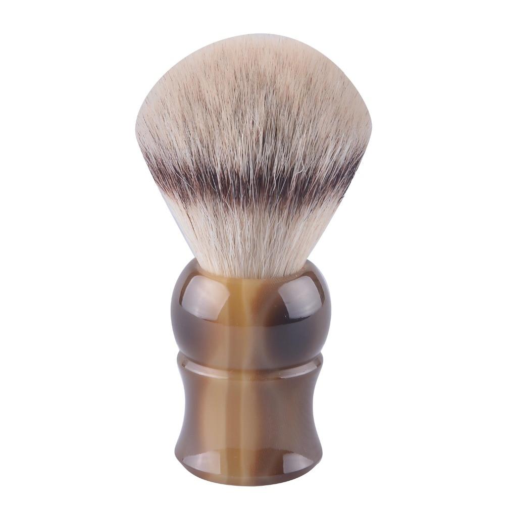 European synthetic hair shaving brush ox horn handle beard brushes imitation silvertip badger hair цена