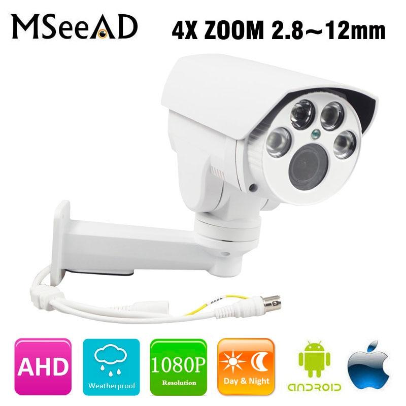 все цены на MSeeAD AHD PTZ Bullet Camera Outdoor Full HD 1080P AHDH 960P 4X Zoom Auto Focus 2.8-12mm 2MP Analog High Definition IR Camera