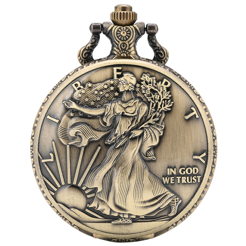 Antique Statue Of Liberty Commemorative Coin 1 Oz Fine Silver One Dollar Coins Collections United States Of America Pocket Watch