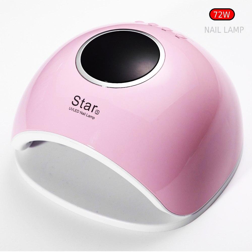 Sun5 más 72 W UV LED Nail lámpara 33 LED secador de uñas para todos los geles con pantalla LCD inteligente 30 s/60 s botón solución de pulgar perfecto