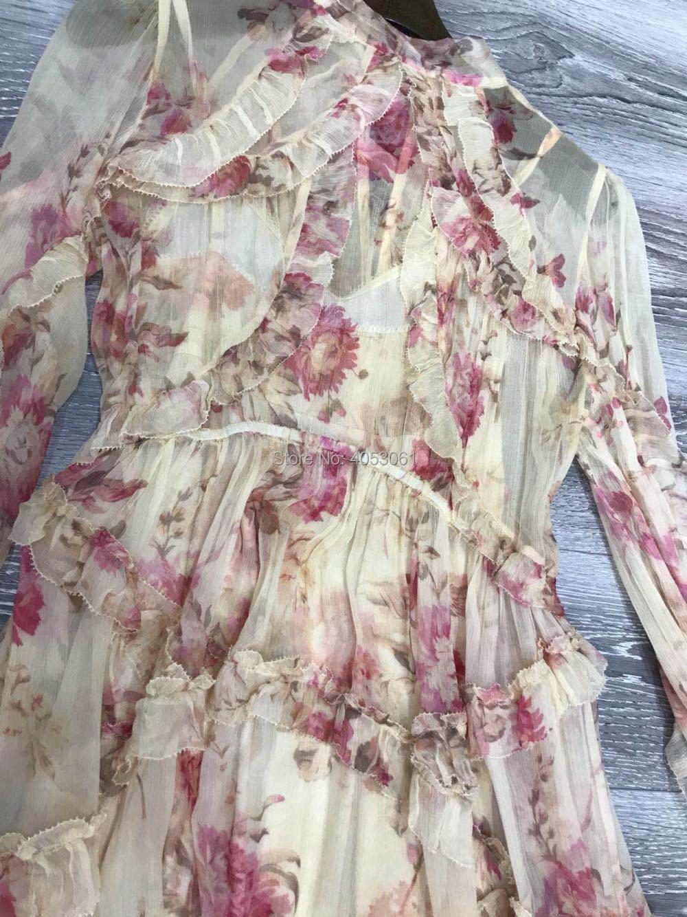 Termine Flottant De Soie Corsair Floral Robe Gland Mode 100 Femme Blouson Nouvelle Manches 2018ss Imprimé Crème Se Arc Cravate B0wnqaX